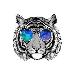 Wild tiger wearing hippie glasses Hipster animal Image for tattoo, logo, emblem, badge design