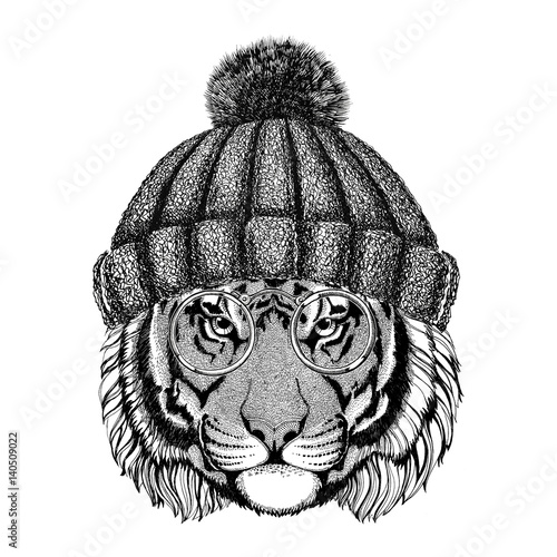 """Vintage Hat Tattoos: """"Wild Tiger Wearing Vintage Glasses And Knitted Hat"""