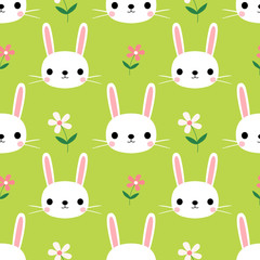 Cute seamless pattern with bunnies and flowers on green background for Easter and spring, for textile and paper