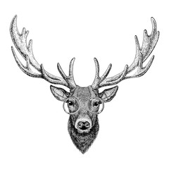Cool fashionable deer Hipster animal Vintage style illustration for tattoo, logo, emblem, badge design