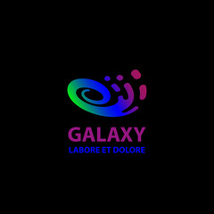 Galaxy logo template. Abstract spiral symbol.