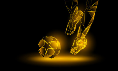 Soccer yellow neon background. Polygonal Football Kickoff illustration. Legs and soccer ball.