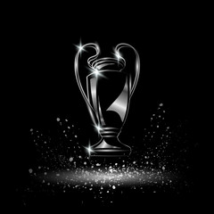 Champions Cup. Chromed Soccer trophy.