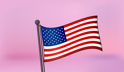 United States of America flag with sunset background. Vector illustration
