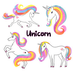 Beautiful rainbow watercolor unicorns set. Vector illustration.