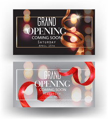 Grand opening banners with curly sparkling ribbons, frames and blurred background. Vector illustration