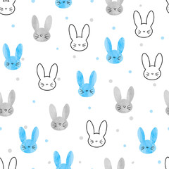Seamless bunny pattern. Vector background with blue and grey rabbits.