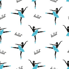 Seamless ballerinas pattern. Vector ballet background.