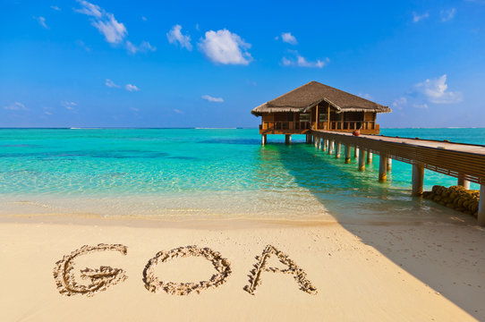 Word Goa on beach