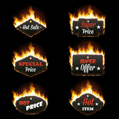 Set of six hot sale horizontal frames of different shapes surrounded with realistic flame isolated on black background. Burning fire light. Bonfire elements. Gradient mesh vector for your design