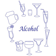 Collection of glasses for alcohol, the isolated background