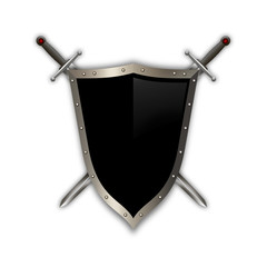 Medieval shield with two swords.