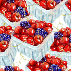 Watercolor pattern with berries. Hand drawn on white background.