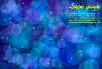 Blurry bokeh circles against dark blue background