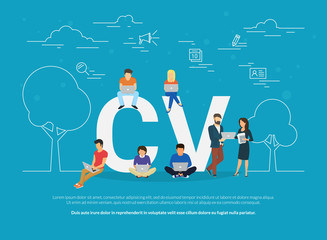 CV concept vector illustration of business people using devices for job searching and hiring. Flat concept design of young men and women fullfilling online and sending cv form using laptop