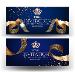 Royal design banners with gold curly silk ribbons and blue background. Vector illustration