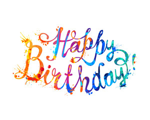Happy Birthday. Hand written. Watercolor splash paint