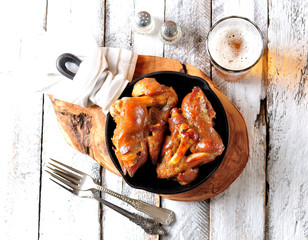 Pork legs baked with garlic in mustard, honey and soy sauce.