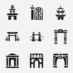 Set of 9 gate filled icons