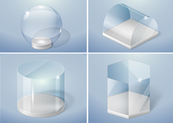 Set of glass forms of sphere, prism, arch and cylinder. Vector graphics with transparency effect