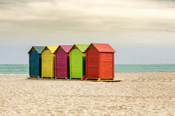 Colorful beach huts or changing rooms in Mediterranean beach