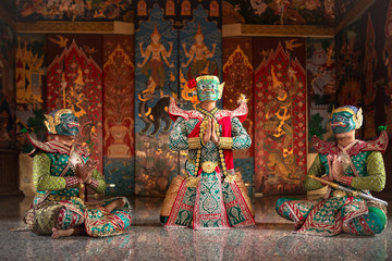 KHON THAI Kumarakorn Character in Ramayana story is mask dancing the best of Thailand and Asia.