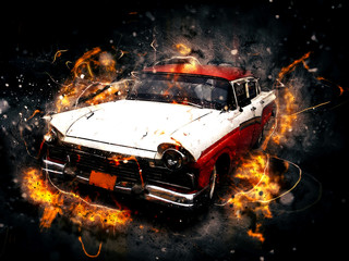 Classic car in photo manipulation effect