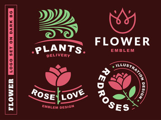 Set flowers logo - vector illustration, emblem design on dark red background