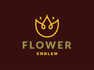 Floral logo with three leaves - vector illustration, emblem design on dark background