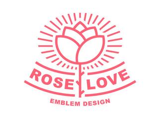 Red rose logo - vector illustration, emblem design on white background