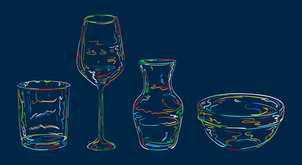 Glassware is drawing  in bright luminescent  lines