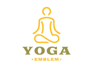 Outline yoga logo - vector illustration, emblem design on light background