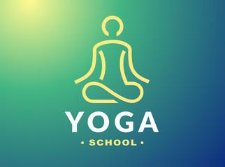 Outline yoga logo - vector illustration, emblem design on gradient background