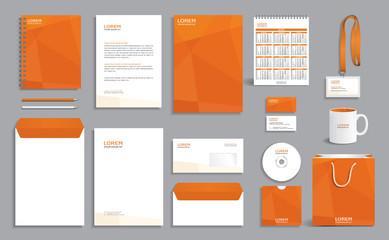 Fototapeta Business stationery set template, corporate identity design mock-up with orange polygonal pattern obraz