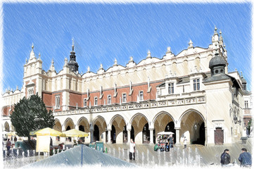 Cracow, Krakow Market Square. Sukiennice. Poland. Illustration in draw, sketch style.