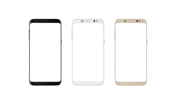 Modern smart phone with round edges in black, silver and gold color. White screen for mockup, isolated.