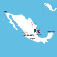 A detailed map of Mexico with indexes of major cities of the country. National flag of the state. Vector illustration.