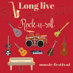 Long live Rock and roll flat style design template.