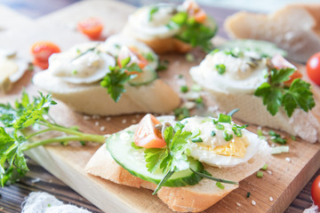 Bread with slices of fresh cucumber, egg, tomato and cream cheese on a wooden cutting board. Fresh parsley and rosemary.