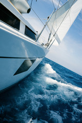 Beautiful yacht in open sea. Traveling, yachting, sailing concept.