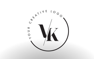 VK Serif Letter Logo Design With Creative Intersected Cut