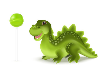 Cute cartoon dinosaur dragon character with green lollypop. Vector illustration.
