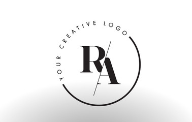 RA Serif Letter Logo Design with Creative Intersected Cut.