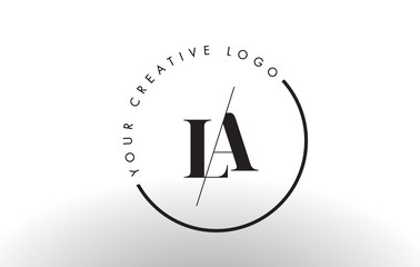 LA Serif Letter Logo Design with Creative Intersected Cut.