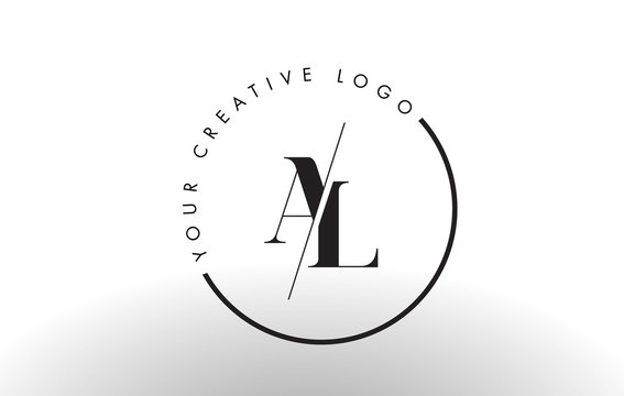 AL Serif Letter Logo Design with Creative Intersected Cut.