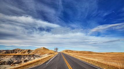 Scenic highway in Badlands National Park, South Dakota, USA.