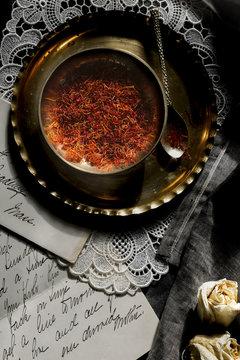 Spanish saffron and handwritten letter