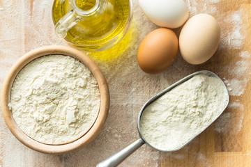 White flour and eggs.