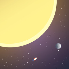 Rocket and the space. Rocket flying in space near the sun and moon. Concept.  Start up, business and promotion for success.