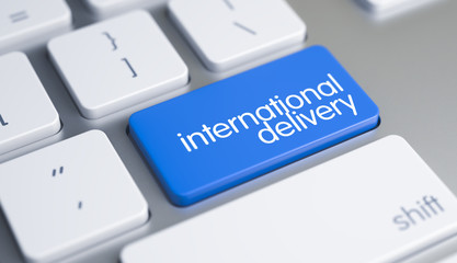 International Delivery - Text on Blue Keyboard Keypad. 3D.
